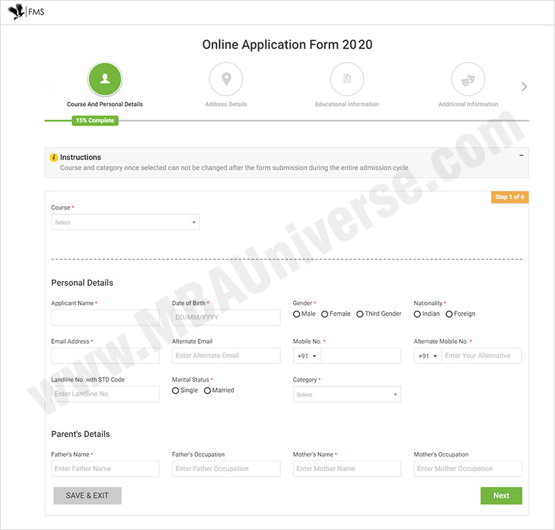 How to apply for FMS Delhi Admission Steps 3
