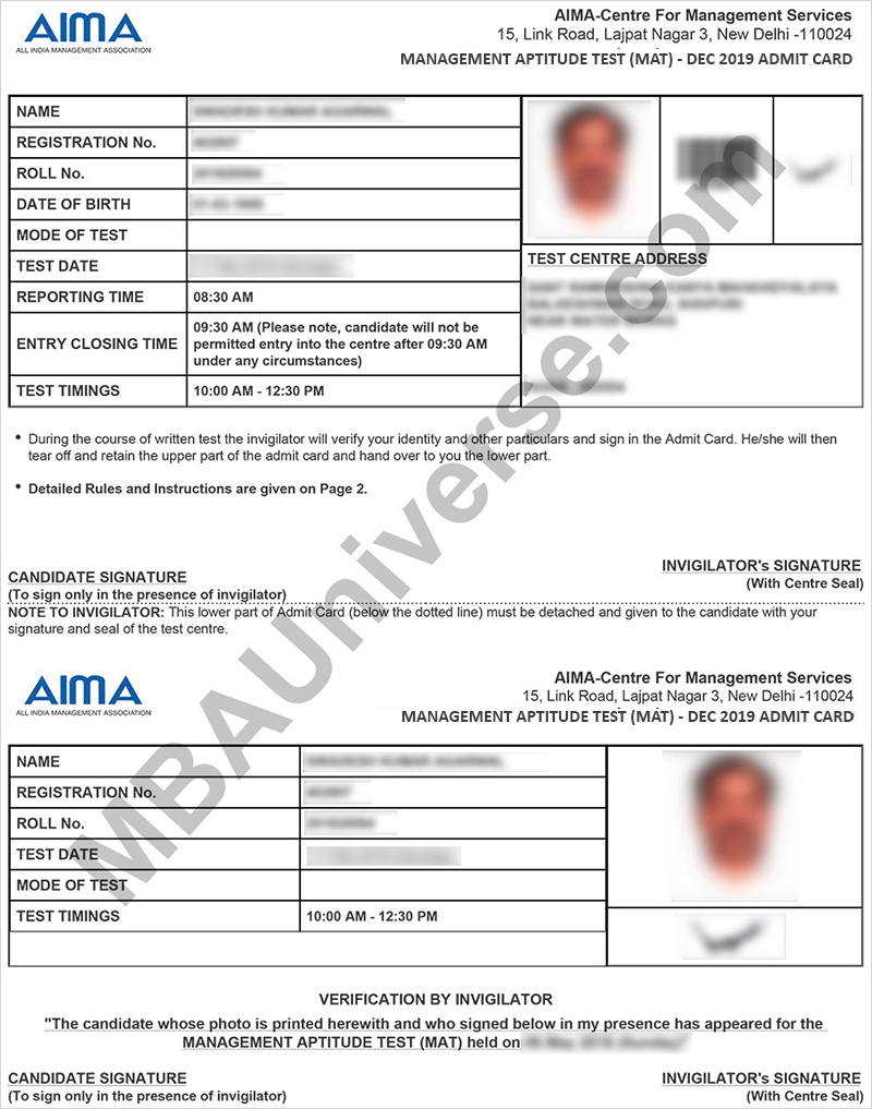 mat admit card 2019 download