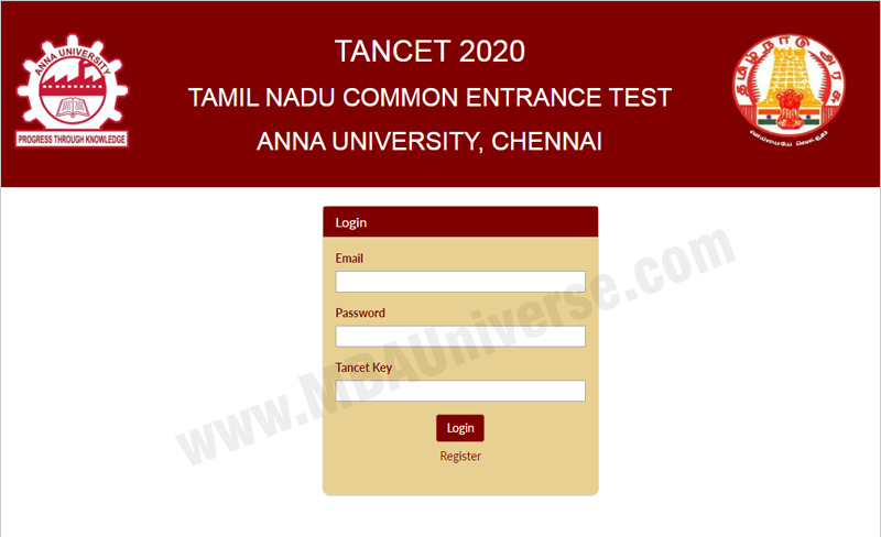 TANCET Registration Login