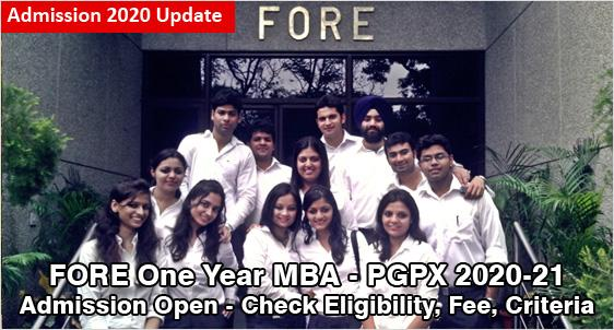 FORE School of Management PGPX Admission 2020