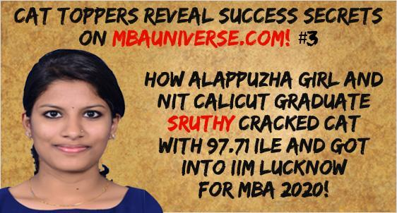 Sruthy S Kumar CAT 2019 Topper