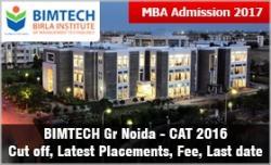 MBA Admission 2017: BIMTECH Gr Noida CAT 2016 cut off