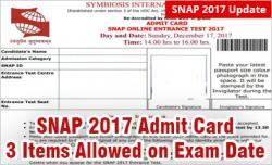 SNAP 2017 Admit Card
