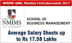 NMIMS-SBM, Mumbai Final placement 2017: Average salary