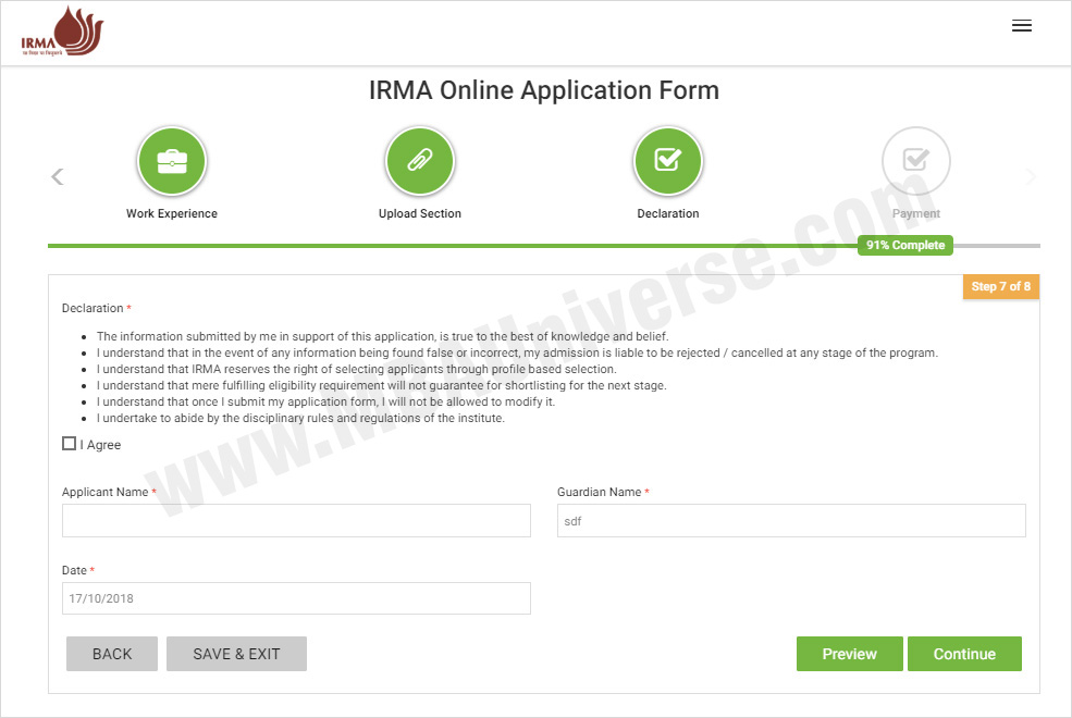 IRMA Admission Application Process Steps 8