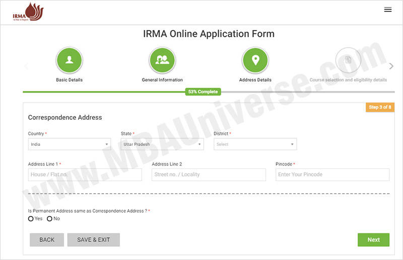 IRMA Admission Application Process Steps 4