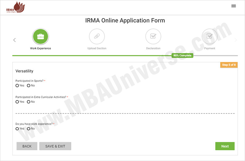 IRMA Admission Application Process Steps 6