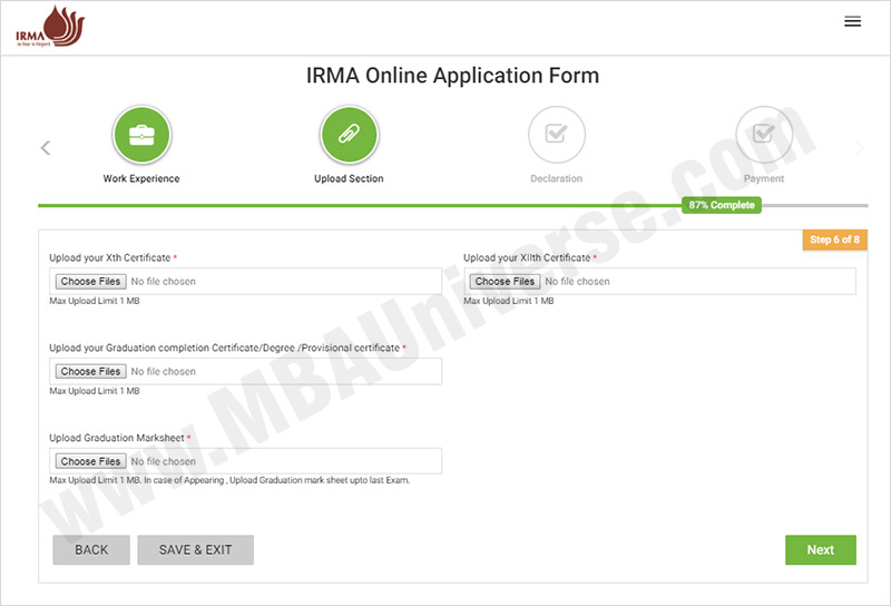 IRMA Admission Application Process Steps 7