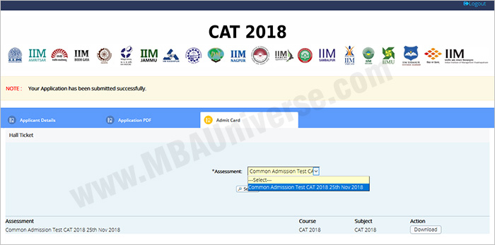 CAT Admit Card Download