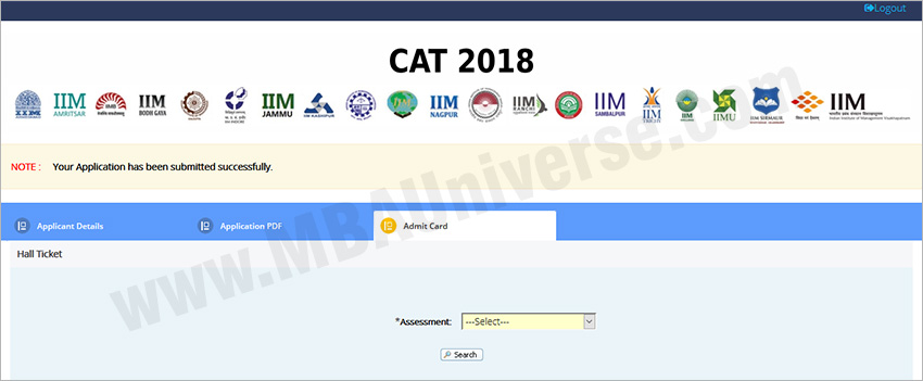 cat admit card download steps