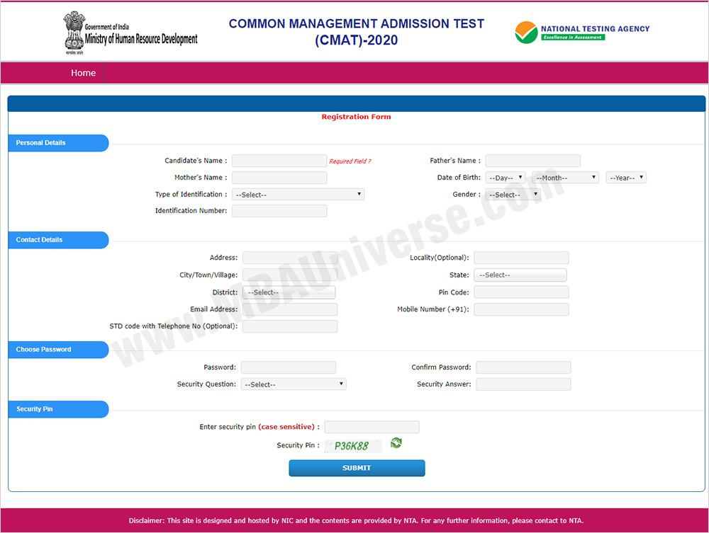 CMAT 2019 Registration Process Step 3