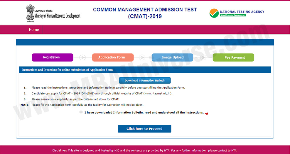 CMAT 2019 Registration Process Step 2