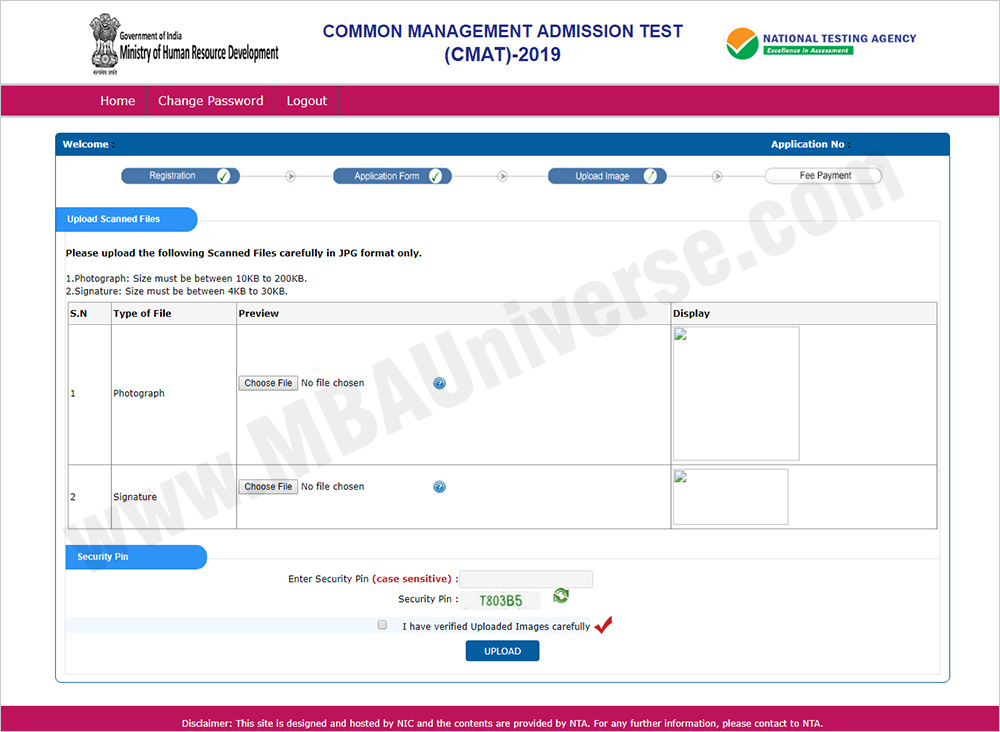 CMAT 2019 Registration Process Step 5