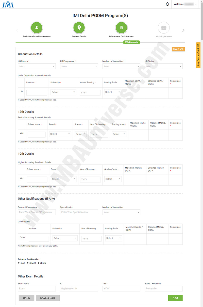 IMI-05 Visa Application Form Desh New Delhi on