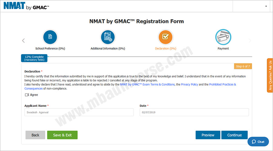 NMAT Registration Process